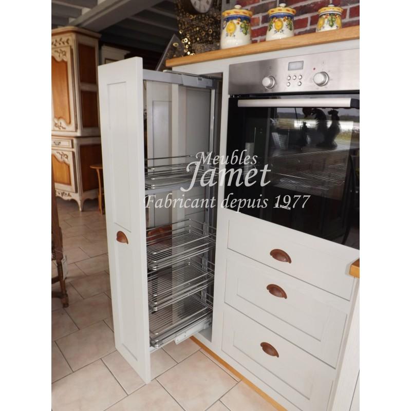 Grande cuisine en bois laqu e grise meubles jamet for Cuisine equipee grise laquee