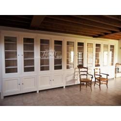 Longue Bibliothèque en bois blanc sur mesure