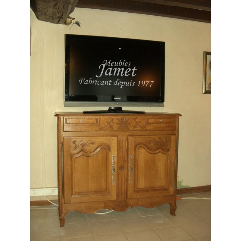 Petit meuble tv hifi sculpt en bois meubles jamet for Petit meuble hifi