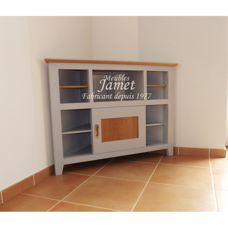 meuble tv hifi d 39 angle laqu gris meubles jamet. Black Bedroom Furniture Sets. Home Design Ideas