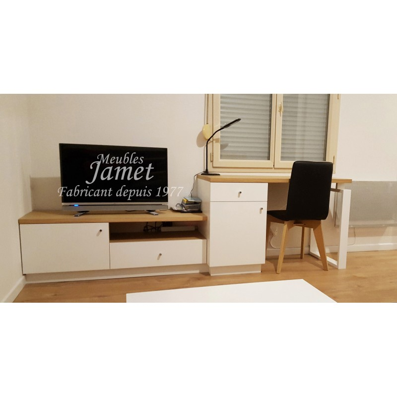 meubles tv bureau contemporain marron blanc meubles jamet. Black Bedroom Furniture Sets. Home Design Ideas