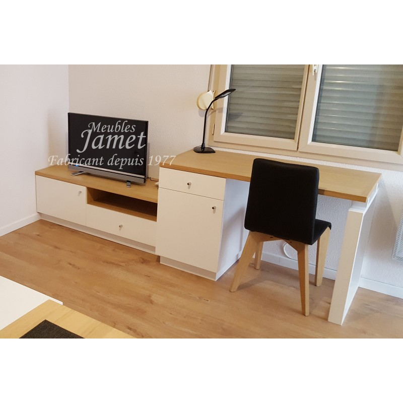 Meubles Tv Bureau Contemporain Marron Blanc Meubles Jamet