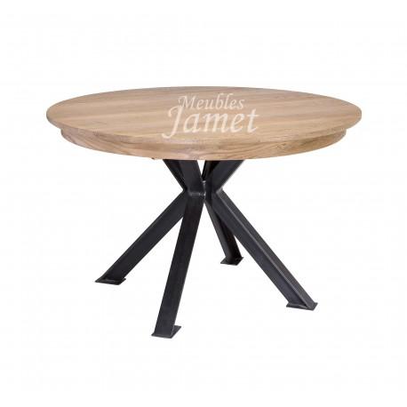Table ronde ch ne pieds fer r f t5331 meublesjamet for Table ronde bois massif avec rallonge