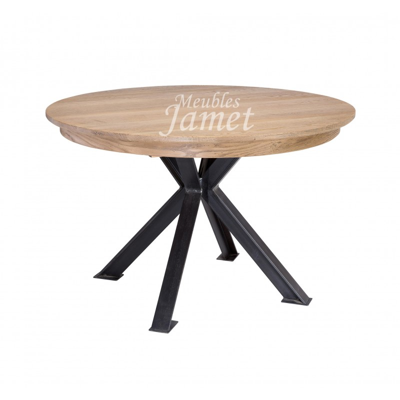 table ronde en ch ne pieds en fer meubles jamet. Black Bedroom Furniture Sets. Home Design Ideas