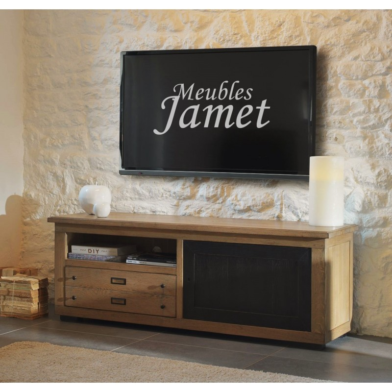 meuble tv style atelier noir en ch ne meubles jamet. Black Bedroom Furniture Sets. Home Design Ideas