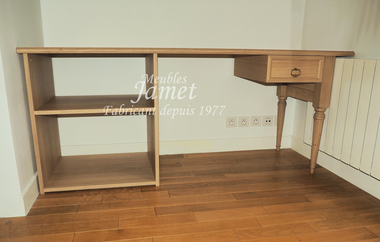Bureau ordinateur en chêne classique meubles jamet