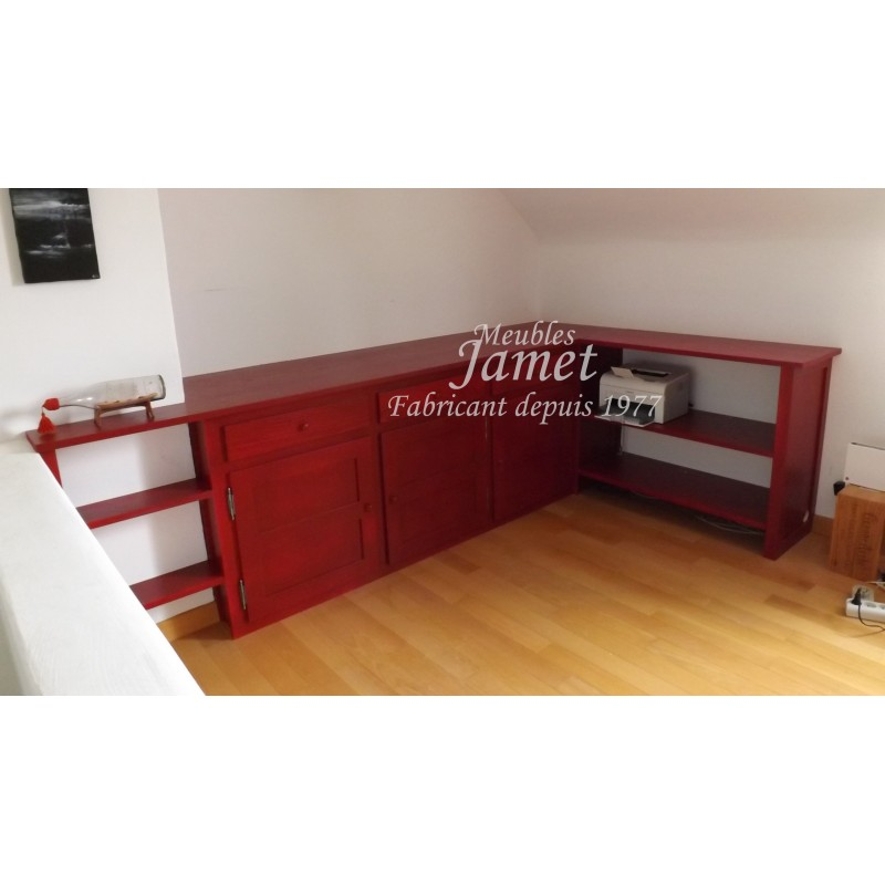 agencement de bureau en bois rouge meubles jamet. Black Bedroom Furniture Sets. Home Design Ideas