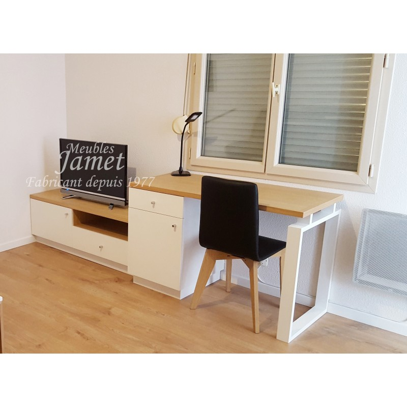 Ensemble bureau meuble t l pur beige meubles jamet for Meuble bureau tv