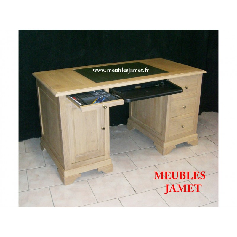 bureau ordinateur en bois beige meubles jamet. Black Bedroom Furniture Sets. Home Design Ideas