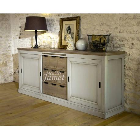 bahut en bois 3 portes coulissantes meubles jamet. Black Bedroom Furniture Sets. Home Design Ideas