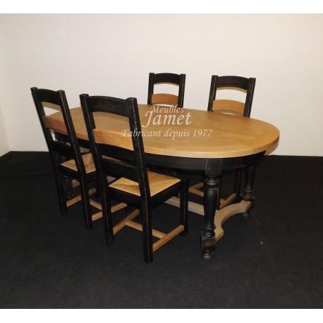 table ovale en ch ne dessus en pis meubles jamet. Black Bedroom Furniture Sets. Home Design Ideas