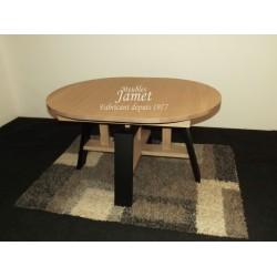 Table ovale style atelier noir et beige en chêne