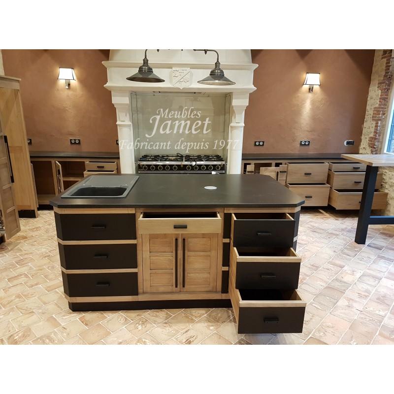 cuisine sur mesure style atelier lot central mate meubles jamet. Black Bedroom Furniture Sets. Home Design Ideas