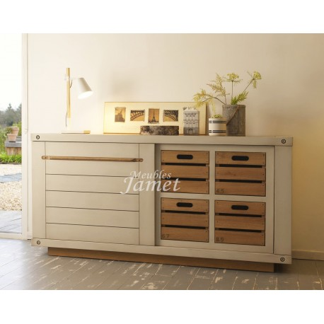 buffet bas 2 portes coulissantes r f cny22 meublesjamet. Black Bedroom Furniture Sets. Home Design Ideas