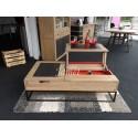 Table de salon relevable en bois style Atelier