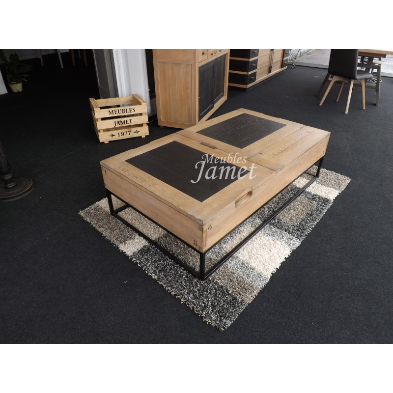 table de salon relevable en bois style atelier meubles jamet. Black Bedroom Furniture Sets. Home Design Ideas