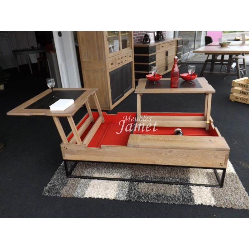table de salon relevable en bois style atelier meubles jamet. Black Bedroom Furniture Sets. Home Design Ideas