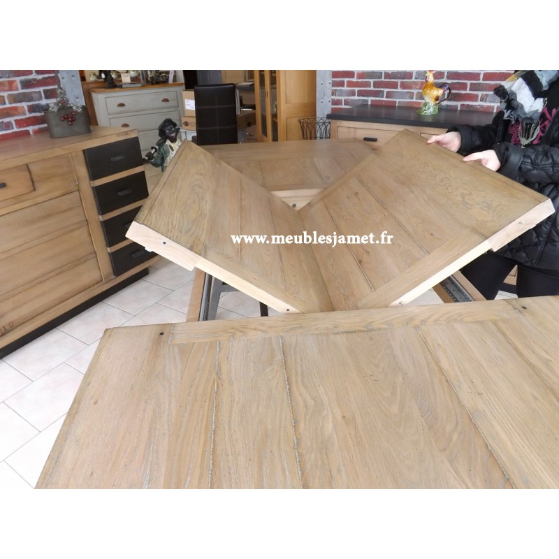 table salle manger style atelier en bois massif table moderne en bois massif. Black Bedroom Furniture Sets. Home Design Ideas