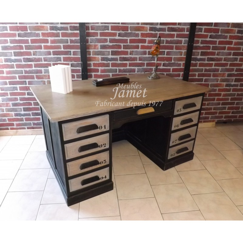 bureau style industriel meublesjamet. Black Bedroom Furniture Sets. Home Design Ideas