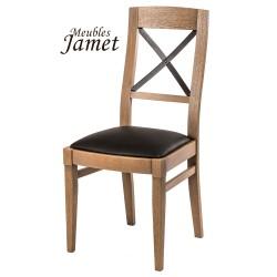 Chaise style industriel LOFT en chêne