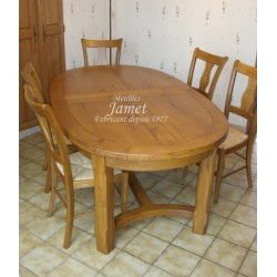 Table ovale pieds chanfreins