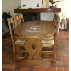 Table ovale pied monastère