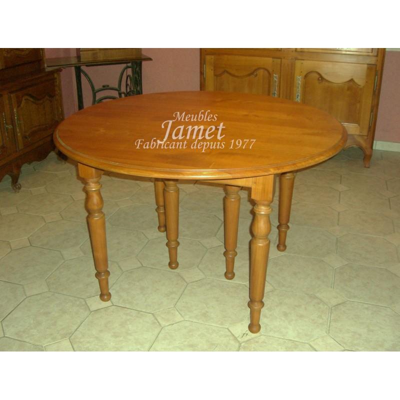 Table ronde en bois 6 pieds meubles jamet for Table 6 pieds