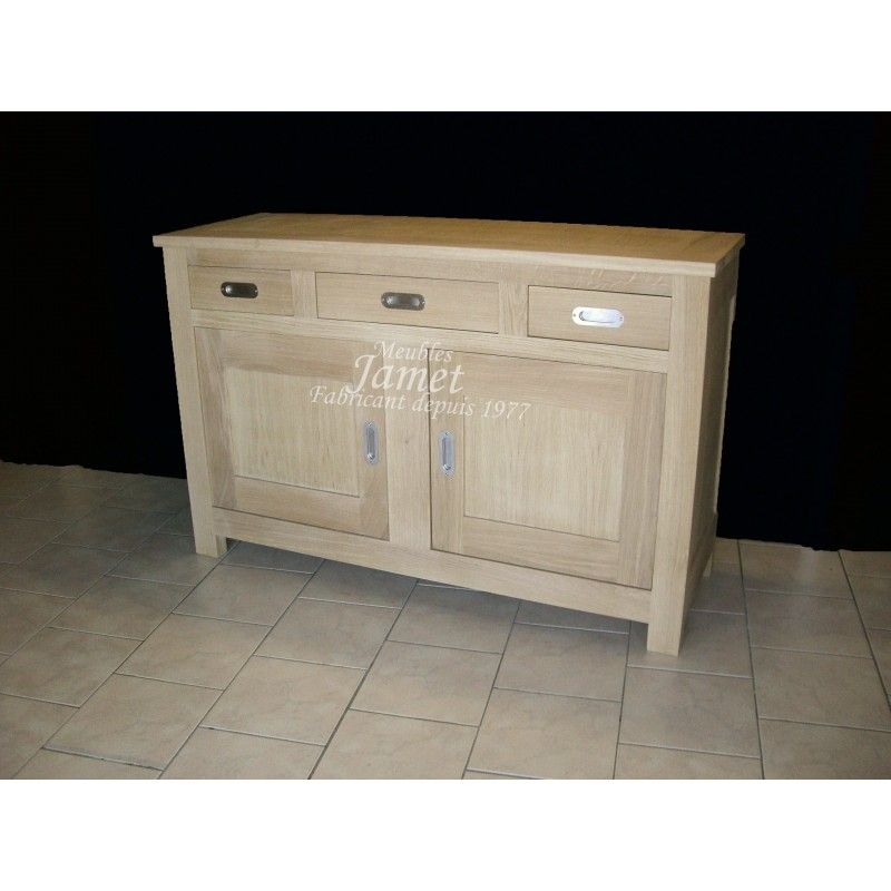 Buffet bas contemporain 2 portes en bois meubles jamet for Meuble bas contemporain