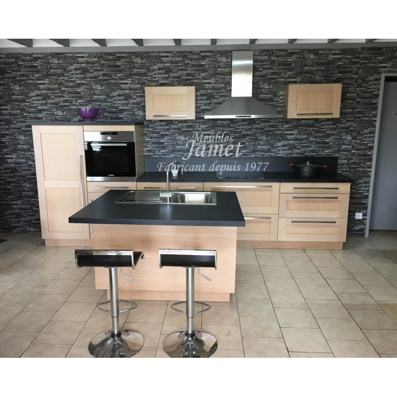 cuisine contemporaine avec ilot central meubles jamet. Black Bedroom Furniture Sets. Home Design Ideas