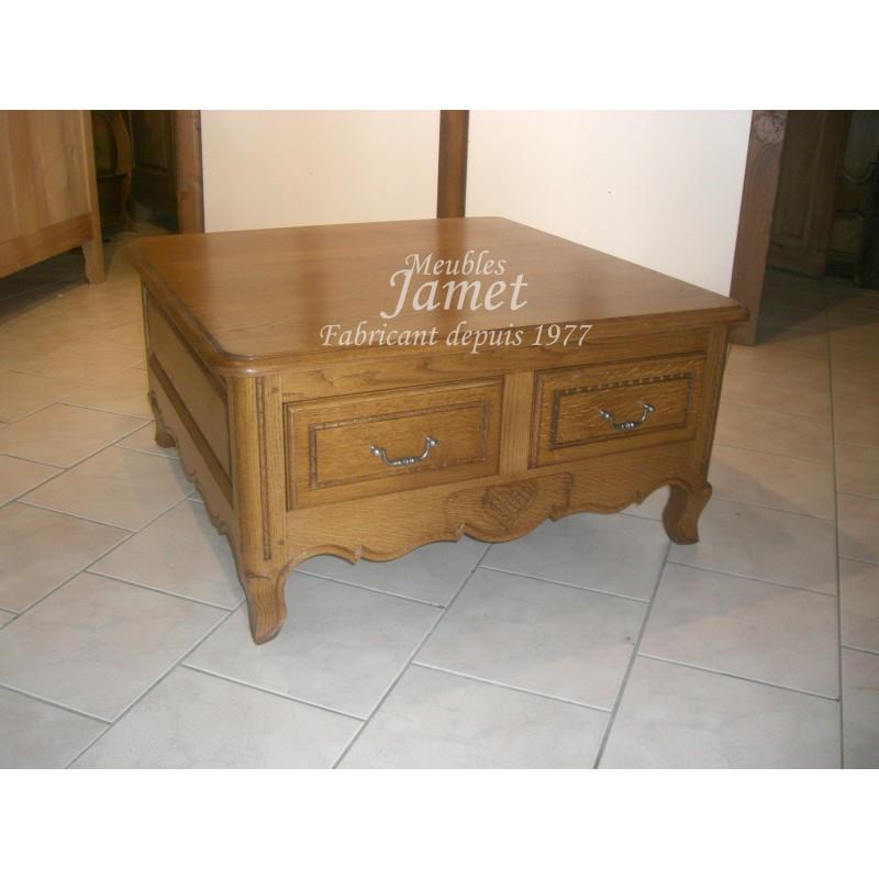 Table de salon carr e en bois meubles jamet - Table de salon carree ...