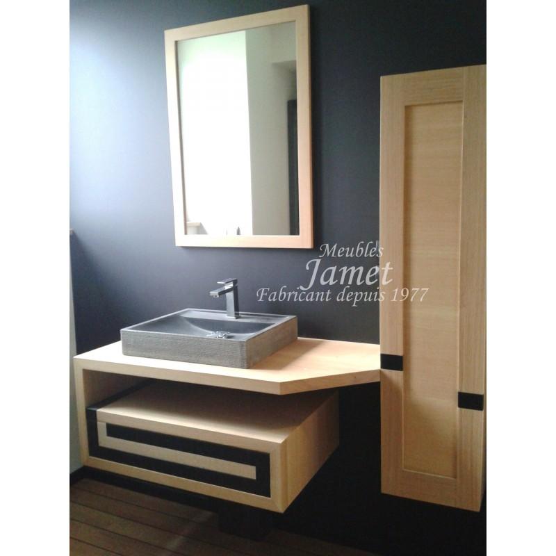 Salle de bain contemporaine noir et beige - MEUBLES JAMET