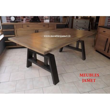 Table salle à manger style atelier en bois massif - Table moderne en ...
