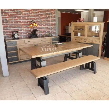 Salle à manger style Atelier chêne grise et noir argenté - MeublesJamet