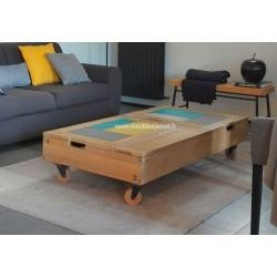 Table basse de style Atelier dessus métal