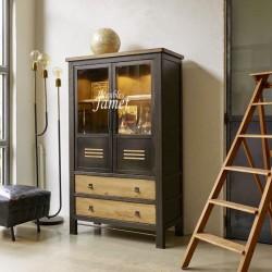 Argentier style Atelier chêne et métal