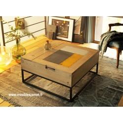 Table basse carrée relevable chêne et métal