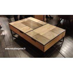 Table basse relevable dessus PATCHWORK