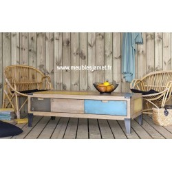Table de salon bois et métal couleur