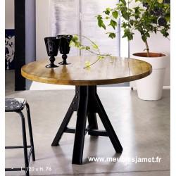 Table ronde chêne massif piétement métallique