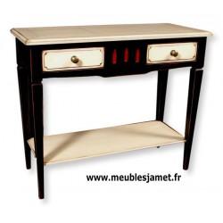 Console 2 tiroirs + cache secrets laquée noire + blanc + rouge