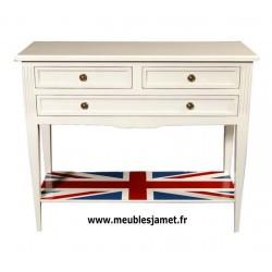 Console grand tiroir avec drapeau laquée blanc