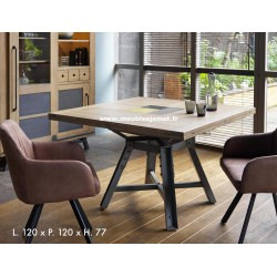 Table carrée style Industriel 4 volets