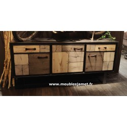 Buffet enfilade 3 portes 2 tiroirs Patchwork de bois