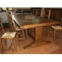 Table en bois pied poutre
