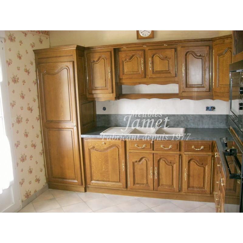 Cuisine rustique en bois angle droit meubles jamet - Meuble de cuisine rustique ...